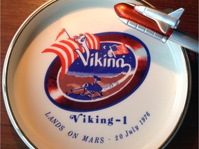 Viking 1 ashtray and space shuttle pen reflect Olaf Storaasli's work on the two projects.