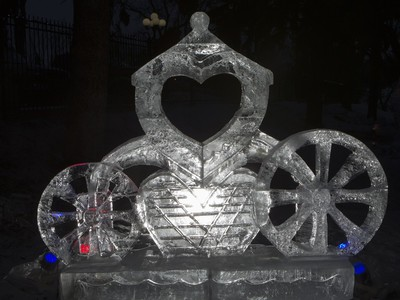 One of a number of ice sculptures during the Frosted Gardens ice park and sculpture display at the Bessborough Hotel, February 1, 2016.