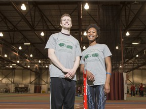 University of Saskatchewan Huskies Track and Field athletes Jared Olson, left, and Astrid Nyame have both medaled at the CIS Track and Field Championships in Toronto.