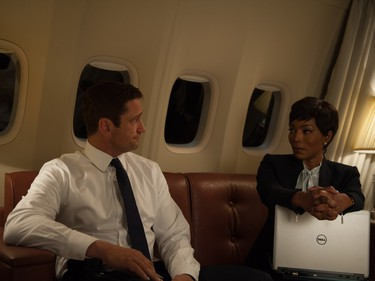 "Angela Bassett and Gerard Butler star in ""London Has Fallen."""
