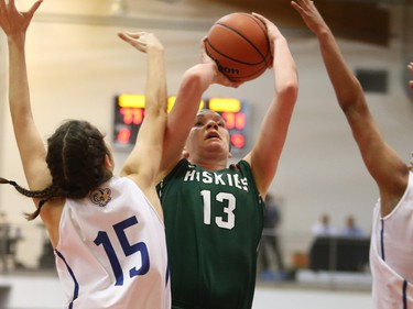 The University of Saskatchewan Huskies captured their first-ever Canadian Interuniversity Sport women's basketball championship title and Bronze Baby trophy Sunday with a 85-71 victory over the Ryerson Rams at Fredericton, N.B. Photo James West Photography for CIS