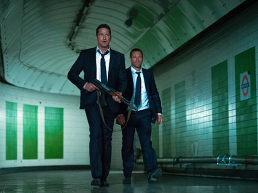 "Gerard Butler (L) and Aaron Eckhart star in Grammercy Pictures' ""London Has Fallen."""