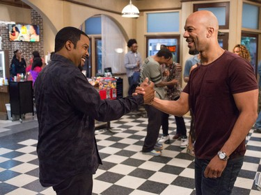 """Ice Cube (L) and Common star in """"Barbershop: The Next Cut."""""""