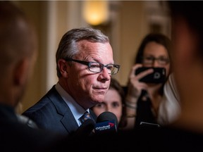 Premier Brad Wall speaks to reporters following his meeting with Prime Minister Justin Trudeau on Wednesday.