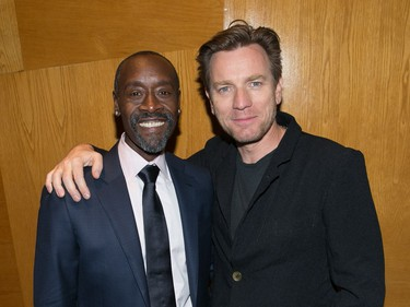 """Actors Don Cheadle and Ewan McGregor attend the premiere of Sony Pictures Classics' """"Miles Ahead"""" at Writers Guild Theatre on March 29, 2016 in Beverly Hills, California."""