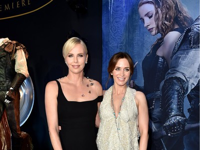 """Actors Charlize Theron (L) and Emily Blunt attend the premiere of  Universal Pictures' """"The Huntsman: Winter's War"""" at the Regency Village Theatre on April 11, 2016 in Westwood, California."""