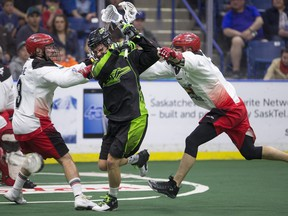 The Saskatchewan Rush play Game 2 of the of the Western Conference Final against the Calgary Roughnecks in Saskatoon on Saturday.