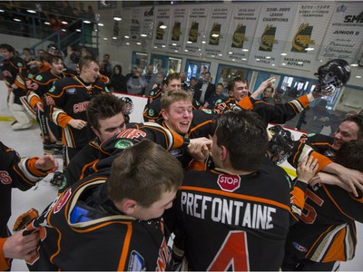 The Saskatoon Contacts celebrate their win over the Winnipeg Wild at the Telus Cup West regional tournament final at Rod Hamm Memorial Arena on Sunday, April 3rd, 2016.