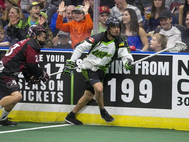 Jeremy Thompson of Saskatchewan Rush moves the ball against the Colorado Mammoth in NLL action on Saturday, April 16th, 2016.