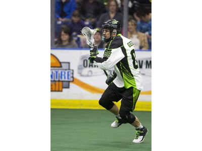 SASKATOON, SASK--APRIL 16 2016 0418 Sports Rush- Zack Greer of Saskatchewan Rush moves the ball against the Colorado Mammoth in NLL action on Saturday, April 16th, 2016. (Liam Richards/Saskatoon StarPhoenix)
