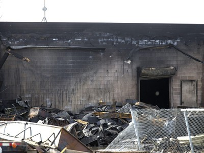 A tour of the fire-ravaged Shercom Industries after Monday night's incredible fire, April 6, 2016.