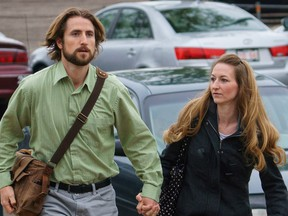 David Stephan and his wife Collet Stephan leave the courthouse on Tuesday, April 26, 2016 in Lethbridge, Alta.