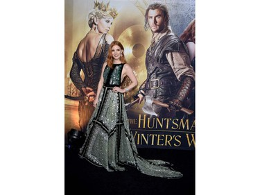 """Actor Jessica Chastain arrives for the premiere of Universal Pictures' """"The Huntsman: Winter's War"""" at the Regency Village Theatre in Westwood, California on April 11, 2016."""