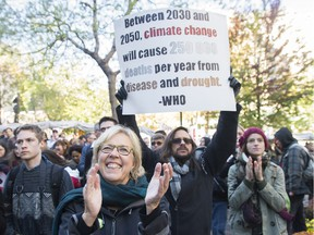 Green Party leader Elizabeth May participates in a No to Energy East demonstration in Montreal in 2015.