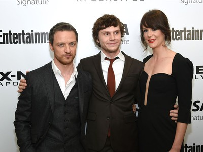 """L-R: James McAvoy, Evan Peters and Carolina Bartczak attend a special screening of """"X-Men: Apocalypse"""" at Time Inc., May 24, 2016 in New York."""