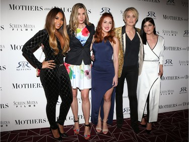 """Ruffino Wine Presents The Los Angeles Premiere of Screen Media Film's """"Mothers and Daughters""""  with (L-R) Ashanti, Mira Sorvino, Alexandra Daniels, Sharon Stone and Selma Blair in West Hollywood, California, April 28, 2016."""