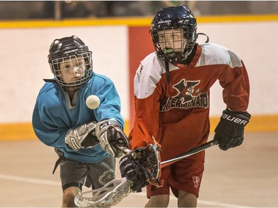 The Land Sharks were up against the Exterminators in a Box Lacrosse game at Kinsmen Arena, May 4, 2016.