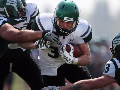 U of S Huskies' Colton Klassen runs with the ball during second half action to close out their spring camp at Griffith's Stadium on May 8, 2016.