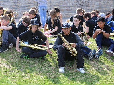 In celebration of Music Monday across the country, 225 students from five schools performed during Bands in The Bowl at the U of S, May 2, 2016.