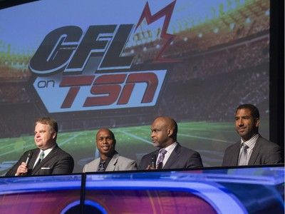 L-R: Sports dignitaries, including CFL on TSN host Rod Smith, Kerry Joseph, CFL on TSN analyst Duane Ford and CFL on TSN analyst Jock Climie on stage during the annual Huskies Dog's Breakfast event at Prairieland Park, May 5, 2016.