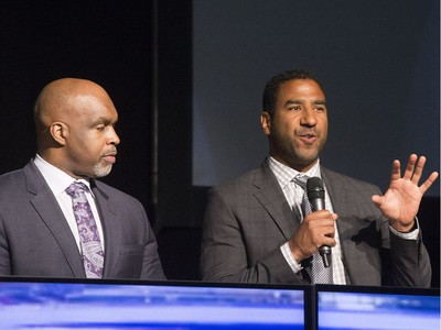 L-R: CFL on TSN analyst Duane Ford and CFL on TSN analyst Jock Climie on stage during the annual Huskies Dog's Breakfast event at Prairieland Park, May 5, 2016.