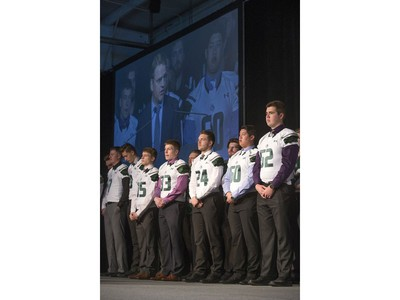 Recruits are welcomed on stage after being welcomed by Huskies head coach Brian Towriss during the annual Huskies Dog's Breakfast event at Prairieland Park, May 5, 2016.