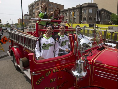 The Saskatchewan Rush of the National Lacrosse League held a noon-hour rally on 21st Street East in Saskatoon, May 20, 2016, in a lead up to their weekend battle with the Calgary Roughnecks. Food trucks and other festivities were featured for fans, as well as an attendance by a number of players.