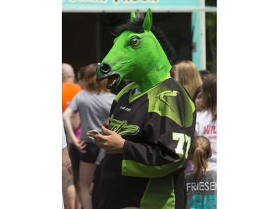 The Saskatchewan Rush of the National Lacrosse League held a noon-hour rally on 21st Street East in Saskatoon, May 20, 2016, in a lead up to their weekend battle with the Calgary Roughnecks. Food trucks and other festivities were featured for fans, as well as an attendance by a number of players. Cody James Stranger came dressed in a horse head.