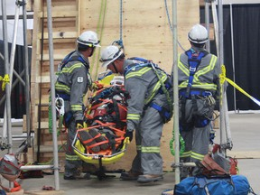 Teams compete in the 2015 Emergency Response/Mine Rescue Skills Competition, an annual event that helps strengthen skills.