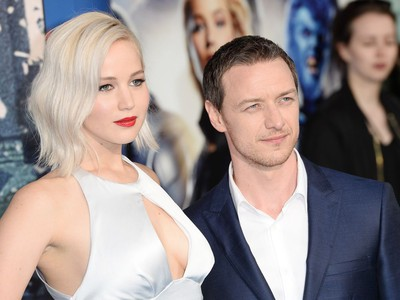 """Jennifer Lawrence and James McAvoy attend a Global Fan Screening of """"X-Men Apocalypse"""" at BFI IMAX on May 9, 2016 in London, England."""