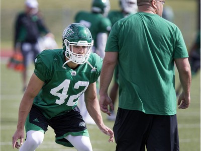 Graig Newman, defensive back, during Rider training camp at Griffiths Stadium in Saskatoon, Friday, June 03, 2016.