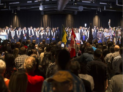 About 200 grads took part in convocation ceremonies for the Saskatchewan Indian Institute of Technologies at Prairieland Park, June 16, 2016. A grand entry was led by the eagle staff and buffalo dancer Donnie Speidel, along with the music of the Wild Horse Singers.