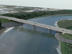 This artist's rendering shows plans for Saskatoon's north commuter bridge, which will connect Marquis Drive on the west side of the South Saskatchewan River to an extension of McOrmond Drive on the east side of the river. The bridge is slated for completion by October of 2018. (City of Saskatoon)