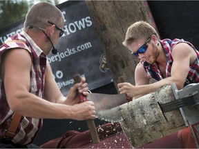 The West Coast Lumberjack Show, which fuses danger with comedy, plays three times daily at this year's Saskatoon Exhibition.