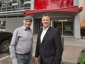 Architect Heney Klypak, left and owner Gordon Doell under the bow tie canopy that was discovered during the renovation of  the Obasa Building on 21 St. E. in downtown Saskatoon, September 1, 2016.