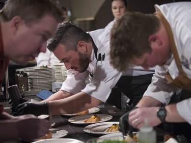 The Culinary team at the Delta Bessborough prepares their dish for the Gold Medal Plates Competition at TCU Place in Saskatoon, October 29, 2016.