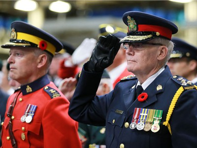Police Chief Clive Weighill attends the annual Remembrance Day Ceremony at SaskTel Centre, the biggest indoor ceremony in Canada, November 11, 2016.