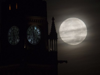 The moon is seen setting behind the Parliament buildings in Ottawa, November 14, 2016. Monday's pedigree moon, also known as a Beaver moon or Frost moon, will be the closest full moon since 1948.