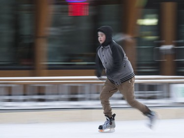 The Meewasin Skating Rink at PotashCorp Plaza has officially opened and a handful of skaters had to keep moving to try and stay warm with temperatures at -23 degrees Celsius and a windchill pushing the -35 mark, December 16, 2016.