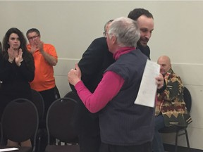 Ryan Meili hugs his competition John Parry after becoming the Sask. NDP's newest candidate.