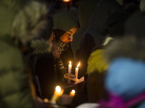 People gather at Saskatoon city hall for a 2017 solidarity vigil for the victims of the attack on the mosque in Quebec City. (Saskatoon StarPhoenix/Liam Richards)