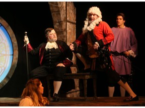 Jordie Richardson, Jimmy Mayo and Connor Brousseau in The Illusion at Greystone Theatre.