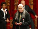 Gordon Tootoosis does a reading at the installation of Michaelle Jean (left) as Canada's 27th governor general in 2005.