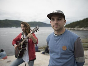A still from a short film about Fransaskois rapper Shawn Jobin (right) for the Our Canada, My Story exhibit at the Canadian Museum of Human Rights. (Photo provided by the Canadian Museum of Human Rights)