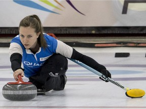 Rachel Homan throws a rock during this week's Canadian mixed doubles championship in Saskatoon.