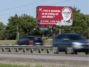 A billboard paid for by the City of Saskatoon stands along Circle Drive north of the intersection with 33rd Street West in Saskatoon, SK on Tuesday, July 4, 2017.