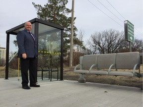 Saskatoon's director of transit Jim McDonald stands in front of the newly upgraded bus stop at the corner of Cumberland Avenue and 14th Street east on Friday October 20, 2017 in Saskatoon.