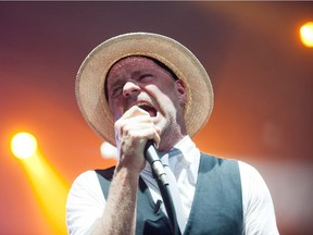 Gordon Downie sings as the Tragically Hip perform at Credit Union Centre in Saskatoon, July 6, 2013.