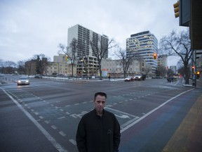 City Councillor Troy Davies stands for a portrait outside on the corner of 23rd and 4th where exists a contentious bike lane in Saskatoon, Sask. on Wednesday, November 1, 2017. At a City Council meeting on Monday, Davies brought forward an amendment that would have seen the bike lanes of 4th Ave. removed as soon as weather permits. The motion had support from three other councillors, but was ultimately defeated.