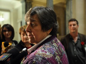 Saskatchewan SPCA Executive Director Frances Wach talks to the media after question period in Regina in this Leader-Post file photo from 2010.